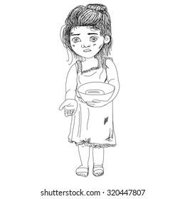 hand drawn child beggar vector,sad child beggar