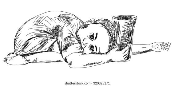 hand drawn child beggar vector,sad child beggar,stop child labour
