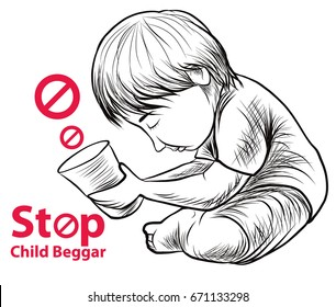 Hand drawn Child lake a freedom they need education,red symbol stop child beggar vector,sad child beggar