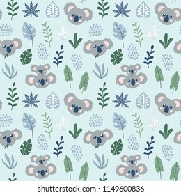 Hand drawn childish seamless pattern with Koalas. Cute Koala Bear print. Vector design template. Good for printing.