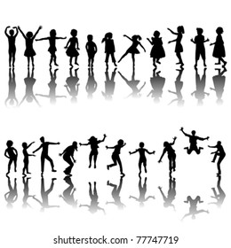 Hand drawn children silhouettes playing