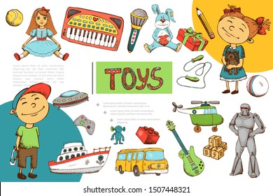 Hand drawn children toys composition with boy girl robot doll balls piano microphone teddy bear present boxes transport joystick alien ufo cubes vector illustration