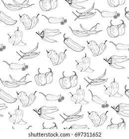 Hand drawn chili peppers. Graphic vector seamless pattern