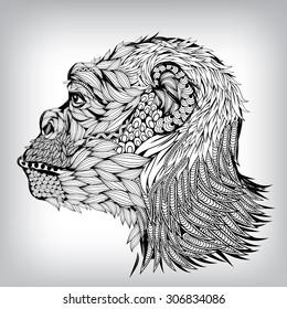Hand Drawn Chimpanzee Illustration, Vector background EPS10