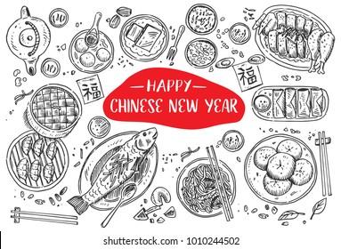 Hand drawn Chinese Food, Vector Illustration