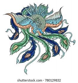 hand drawn Chinese peacock tattoo.Asian Phoenix fire bird tattoo design.