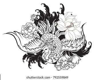 hand drawn Chinese peacock tattoo.Asian Phoenix fire bird tattoo design.Colorful Phoenix fire bird with Peony flower and rose on cloud and wave background.Hand drawn Japanese tattoo style.