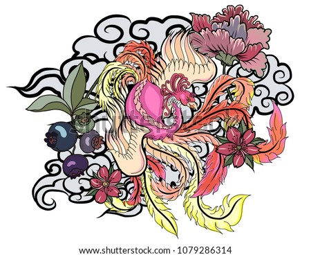 Hand Drawn Chinese Peacock Tattoo Asian Phoenix Stock Vector