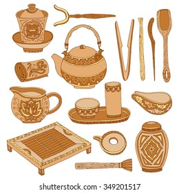 Hand drawn chinese tea culture. Vector ceremony set of tools and equipment