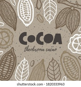 Hand drawn chocolate cocoa beans tree grunge style ink lettering poster. Theobroma banner engraved drawing of leaves. Vintage stylized ink cacao pods background, banner template design
