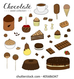 Hand drawn chocolate products isolated on white background. Cocoa, cake, cupcake, bundt, ice cream, candies, strawberry, pear, apple.