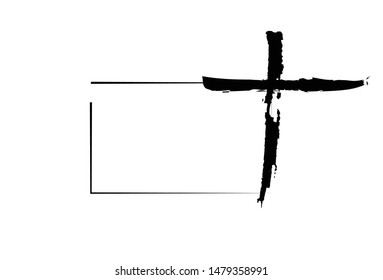 Hand drawn christian cross signs with place for text. Religion symbol, Catholicism icon. Signs and symbols icon can be used for web, logo, mobile app, UI, UX