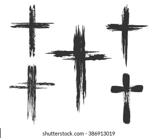 Hand drawn christian cross signs. Brush painted black icons. Vector illustration