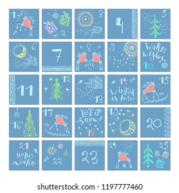 Hand drawn christmas advent calendar with snowflakes and red folk art deers, sun, moon, nature elements, christmas trees  and ornaments. Winter holidays colorful design.