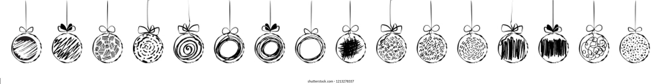 Hand drawn christmas ball collection isolated on white background. New Year vector balls sketch, ink doodle xmas bauble icons or holiday toys engraving illustration