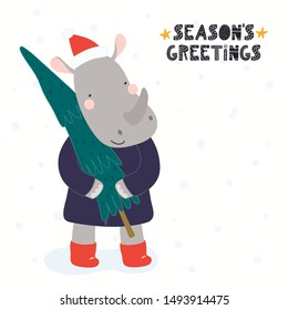 Hand drawn Christmas card with cute rhino in Santa Claus hat, with tree, quote Merry Christmas. Vector illustration. Isolated objects on white. Scandinavian style flat design. Concept for kids print.