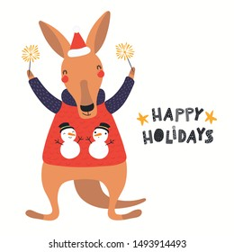 Hand drawn Christmas card with cute kangaroo in Santa hat, with sparklers, quote Happy holidays. Vector illustration. Isolated objects on white. Scandinavian style flat design. Concept for kids print.