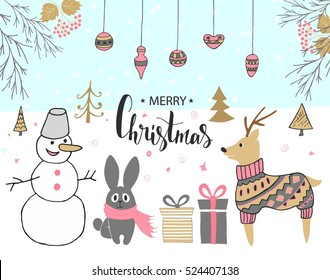 Hand drawn christmas card with cute snowman, rabbit, deer, gifts and other items.