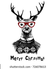 Hand drawn Christmas card with deer hipster. Vector illustration