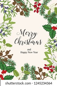 Hand drawn Christmas card with winter plants. Spruse, holly, mistletoe, juniper and cones vector illustration. Botanical design elements.