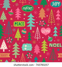 Hand drawn christmas elements seamless pattern background