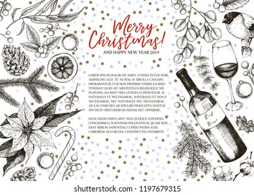 Hand drawn Christmas greeting banner. Vector pine branch, fir, eucalyptus, holly, cotton, candies, wine bottle. Xmas and New Year greeting card. Winter seasonal greetings, party celebration. Flyer