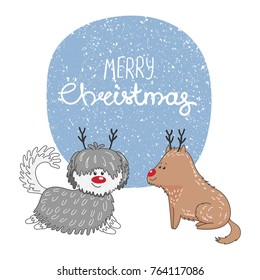 Hand drawn Christmas greeting card with cute cartoon dogs with deer antlers and red noses, typography. Isolated objects on white background. Vector illustration. Design concept kids, winter holidays.