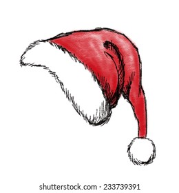 hand drawn christmas hat on white background