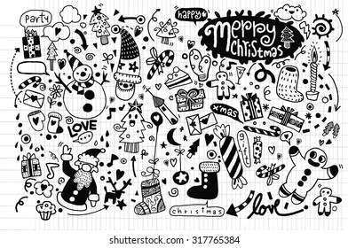 Hand drawn Christmas icon's set doodle, drawing style Pen on Paper Notebook. Vector illustration.