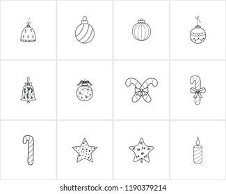 Hand drawn Christmas and New Year decorations .Template for Greeting Scrapbooking, Congratulations, Invitations.Christmas bell,stars,  ball, candle, Christmas tree decorations, christmas cand