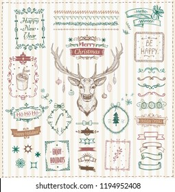 Hand drawn Christmas and New Year sketch elements set, doodle graphic line elements - deer, ribbons, frames, dividers and quote phrases, vintage style vector illustration