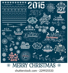 Hand Drawn Christmas And New Year Decoration Set Of Calligraphic And Typographic Design With Labels, Symbols And Icons Elements, vector illustration.
