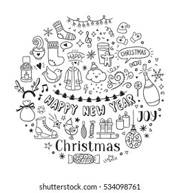 Hand drawn Christmas and New Year icons and doodles. Seasons greetings sketch illustrations