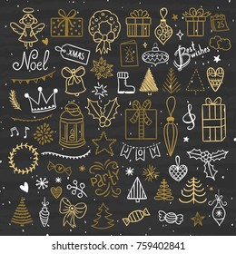 Hand drawn Christmas and New Year illustrations vector set. Outline holidays graphic elements