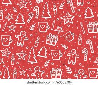 Hand drawn Christmas and New Year seamless pattern for winter holidays. Lovely background with winter elements:  cookie, candles, fir-trees, snowflakes, cups, gifts. Linear vector illustration