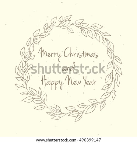 hand drawn christmas and new year invitation card hand drawn vector illustration of retro wreath