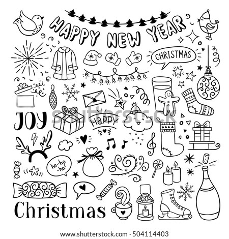 hand drawn christmas new year doodles stock vector royalty free