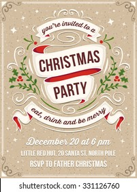 Hand drawn christmas party invitation. Only solid fills used. No transparency. File format is EPS8. The white example text is on a separate layer for quick removal.