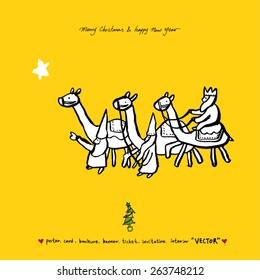 Hand drawn Christmas poster - vector