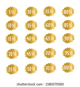 Hand drawn Christmas sale tags set vector badges template, 5 off, 10, 15, 20, 25, 30, 50, 60, 70,  80 percent label symbols, discount flat icon, sticker emblem