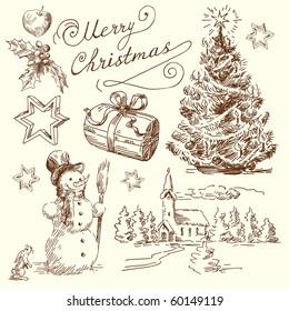 hand drawn christmas set