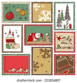 Hand drawn Christmas stamps collection A