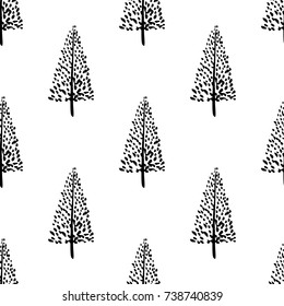 Hand drawn Christmas tree background. Doodle ink seamless pattern for New Year 2018.