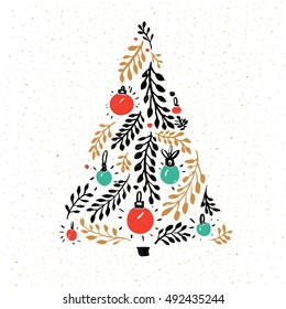 Hand drawn Christmas tree decorated with red and green balls. Greeting card vector design