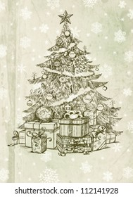 How To Draw A Realistic Christmas Tree.Christmas Tree Drawing Images Stock Photos Vectors