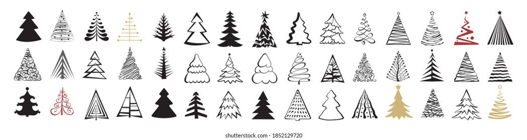 Hand drawn Christmas tree icon set isolated on white background. Xmas tree doodle icons collection, new year sketch scribble fir symbols. Handdrawn vector imitation
