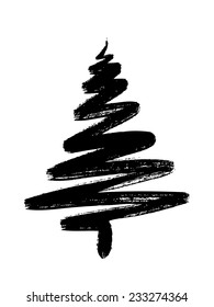 hand drawn Christmas tree isolated on a white background