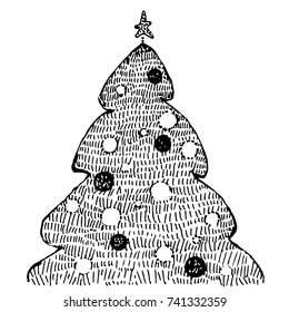 Hand Drawn Christmas Tree On White Stock Vector Royalty Free