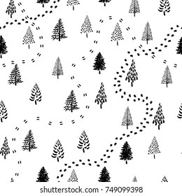 Hand drawn Christmas tree pattern. New Year ink doodle seamless background.