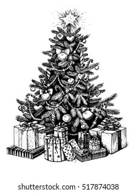 Hand drawn Christmas tree and presents. Vector illustration sketch, line art.